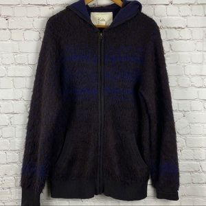 Koto Brown Blue Fuzzy Zip Up Hooded Sweater SZ Med